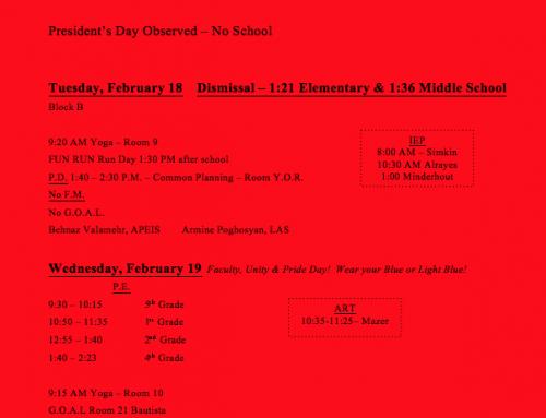 Weekly Schedule 2/17-2/21
