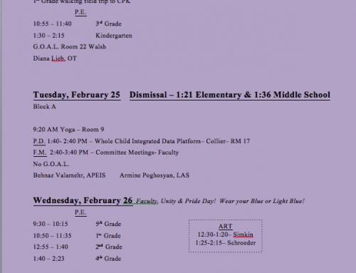 Weekly Schedule 2/24-2/28